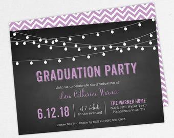 Graduation Invitation, Graduation Announcement, Printable Invitation, Invitation PDF, DIY, Printed, String Lights, Chalkboard, Purple, Luca