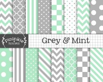Pack de papier numérique à la menthe, gris Pack papier Scrapbook Digital, menthe Chevron papier numérique, téléchargement immédiat, livre vert