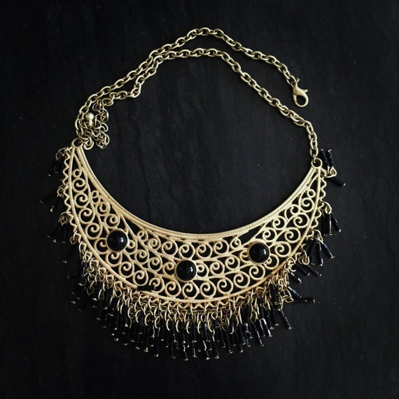 Vintage Gold and Black Bib Necklace in Faux Gold and Black Beads FREE SHIPPING!