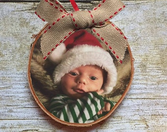 Baby's First Christmas Photo Ornament | Rustic Decor