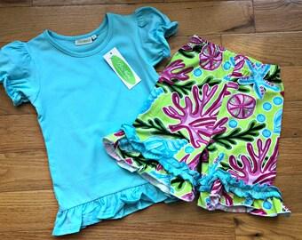 Blue Seascape Ruffle Outfit