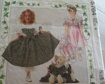 Vintage 1992 McCall's Pattern 5764 - Children's Dress, Pantaloon, Bear doll and clothes - size 4