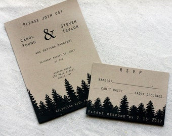 Simple Rustic Wedding Invitations, Recycled Wedding Invitation, Tree Wedding Invitations, Mountain Weddings, Mountain Invitations, Kraft