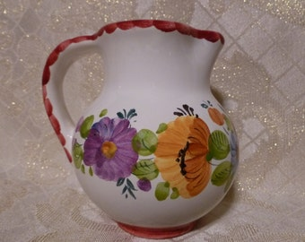 Small Pitcher Beautiful Floral Design Made in Italy