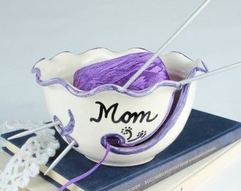 Yarn Bowl Personalized Custom crafty mom gift Ceramic Any Name Knitting Holder Crochet organizer storage White BlueRoomPottery