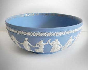 Wedgwood blue jasperware unique Dancing Hours presentation bowl circa 1963