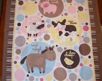 An Adorable Animal Talks Nursery Fabric Panel Free US Shipping