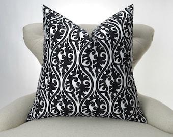 Black Throw Pillow, Euro Sham, Accent Pillow, Decorative Cushion, Black & White Decor -MANY SIZES- Kimono Pattern by Premier Prints