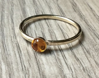 Gold citrine ring 14k gold filled, gold stacking ring, stackable gold ring, gemstone stackable, gold stacking ring