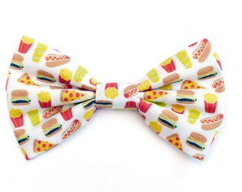 The Jerome Bow Tie — Dog Bowtie, Made in Brooklyn, Bowtied, Junk Food, Hamburger, Hot Dog, Fries, Wedding Clothes, Ring Bearer, Collar