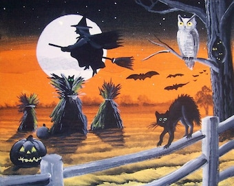 """Folk Art HALLOWEEN Witch PRINT """"Harvest Time"""" Witch Flying over Field Black Cat Byrum"""