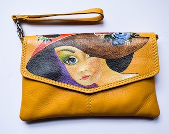 Hand-painted leather wristlet bag