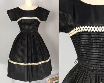 Absolutely Gorgeous 1950's Black Rayon Party Dress with Stripes, Sparkles, and Pretty Lace Trim Size Small to Medium - OSV0221