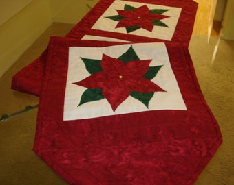 Poinsettia Quilted Table Runner