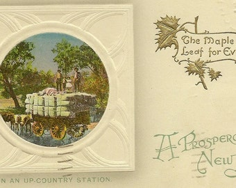 Antique New Year's Postcard The Maple Leaf Forever On An Up Country Station 1914 – Birn Brothers Countryside Holiday