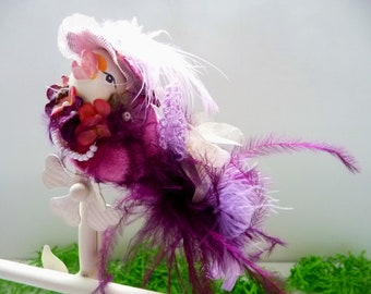 Vintage Decorative Bird, Katherine's Collection, Dressed in Velvet Finery With Hat, Purple Feathers