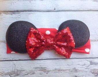Red Minnie Mouse ears headband with sequin Bow Baby Soft Cotton headband wrap headband holiday headband Babies 1st birthday