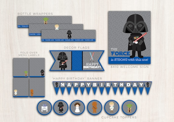 Darth Blue Collection Party Pack  - Star Wars {inspired}Darth Party Supplies - INSTANT DOWNLOAD