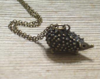Hedgehog Necklace, Antiqued Brass Hedgehog Pendant Necklace, Nature Necklace, Animal Jewelry