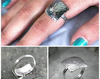 Square silver ring, Hammered simple ring, Geometric ring, Sterling silver square ring, Simple ring, Silver ring, Unique modern silver ring