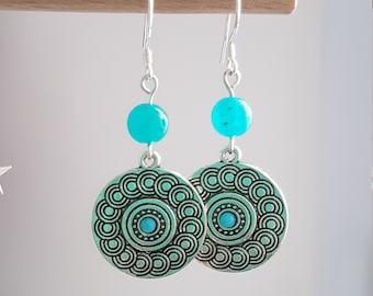 Amazonite Silver earrings blue