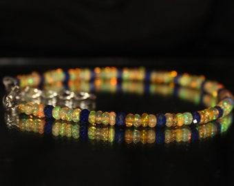 Dainty Lapis Lazuli Bracelet, Eithopian Opal, White Opal, Gemstone, Dainty Bracelet, Adjustable Bracelet, lapis bracelet, bridesmaid 0031