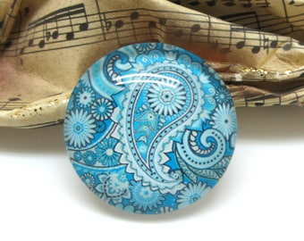 2 Paisley blue glass 12 mm - 12 mm cabochons