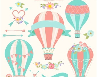 ON SALE Hot Air Balloons clipart, hot air balloon clipart, hot air balloon label clipart, shabby chic, instant download clipart