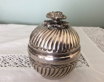 A silver plate Trinket Pot.