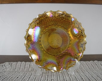 Marigold Orange Carnival Glass Plate 1900's