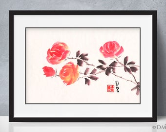 Red Roses 2 - sumi-e watercolor painting - 12x18 (Print)