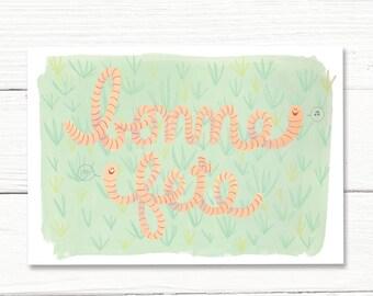 Birthday card // worms