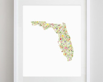 Florida State Floral Watercolor Art Print - Available in Any State