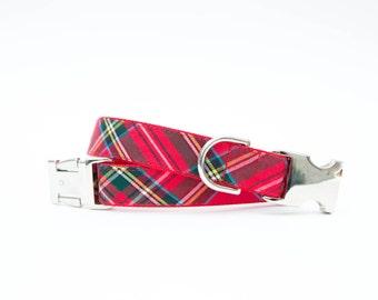 Plaid Christmas Dog Collar - Red Tartan