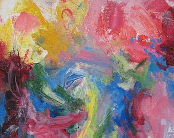 Sometime in Spring GICLEE ART PRINT 8 x 11 gardens abstract pink red cobalt white