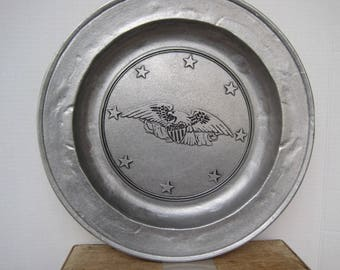 Faux Pewter Eagle & Star Plate Platter