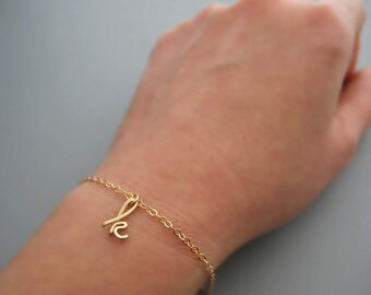 Gold Initial Bracelet - charm bracelet with 14kt gold filled delicate chain, lowercase cursive letter, personalized daughter jewelry
