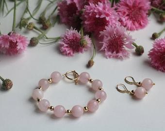 Pink quartz Bracelet, Rose quartz bracelet, Rose quartz earrings, Pink earrings, Pink jewelry set, Wedding Jewelry, Pink wedding, Boho Bride
