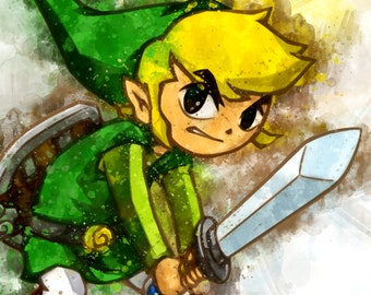 Link from the Legend of Zelda Watercolor Stylized Artwork Poster