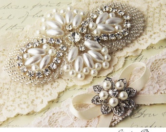 Ivory Lace Garter Set, Wedding Garter Set, Ivory Bridal garter Set, Rhinestone Garter, Lace Wedding Garter