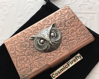 Owl Copper Business Card Case Steampunk Card Case Card Holder Gothic Victorian Style Card Case New Handcrafted Card Case Vintage Style