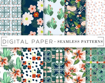 Floral Tile Abstract Seamless Patterns Digital Scrapbook Paper Watercolor Painterly Hand Drawn Repeatable Textile Surface Art Background