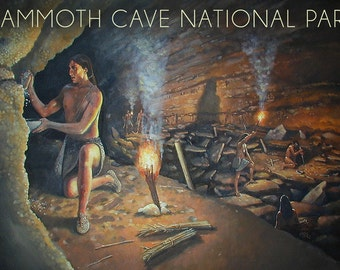 Mammoth Cave, Kentucky - Original Cave Painting (Art Prints available in multiple sizes)