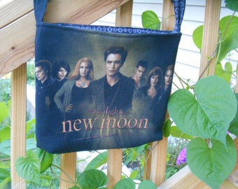 Crossbody or Over the Shoulder Bag, Up Cycled T-shirt purse, New Moon, Edward