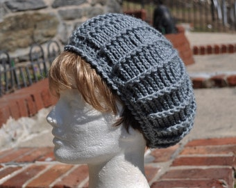 Gray Crochet Hat for Women - Lightweight Beret -  Women's Hat - Gray Hat - Gray Beret - Women's Accessories
