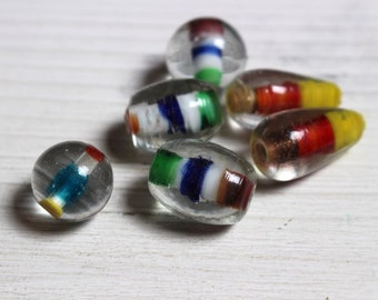 Large multicoloured glass beads
