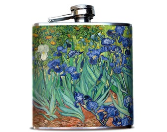 Van Gogh Irises Flask, Famous Van Gogh Art, Purple Iris, Classic Hip Flask, Impressionist Art, Art Collector Gift