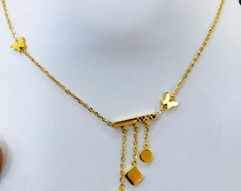 22k solid gold fancy heart and sphere necklace  916 Gold