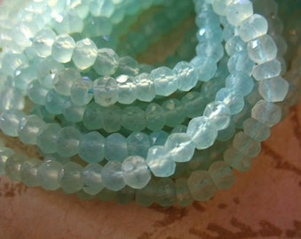 Shop Sale.. 1/2 Strand, Chalcedony Rondelles Beads, Luxe AAA, 3.5-4.5 mm, Faceted, SEAFOAM AQUA, brides bridal  wholesale beads solo