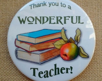 Big Fridge Magnet, THANK You to a Wonderful TEACHER, Books and Apple, From Original Color Pencil Art